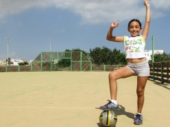 Girl Footballer Goal Victory Child Fun Success